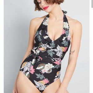 ModCloth Black Floral Reese One-Piece Swimsuit